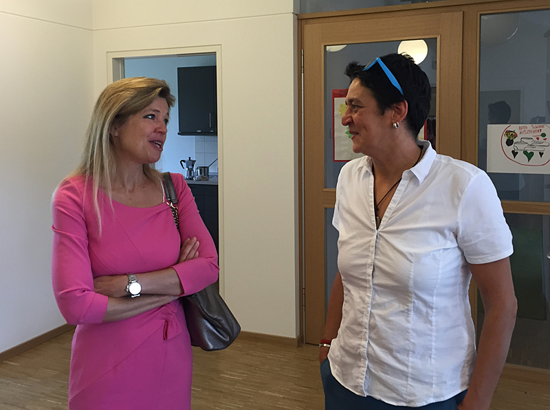 Dr Monika Bayat in conversation with the Managing Director of the Temenos building, Daniela Kuchenbaur