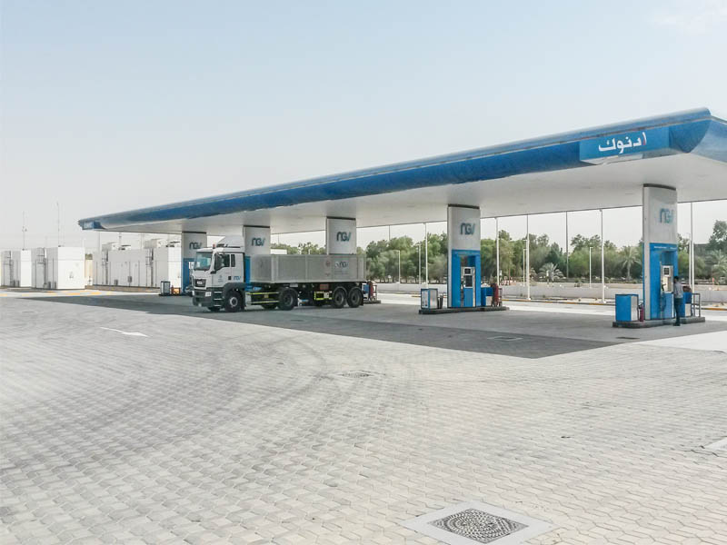 Enormous: the biggest natural gas refuelling station on the Arabian peninsula.